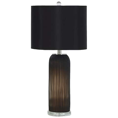 "Abaness Contemporary Black Glass Table Lamp - Set of 2 - 14""W x 14""D x 29""H"
