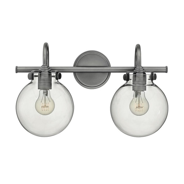 "Hinkley Lighting 50024 2-Light 19.25"" Width Bathroom Vanity Light with Clear Globe Shade from the Congress Collection - N/A"