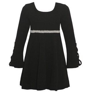 Little Girls Black Cord Laced Detail Long Sleeved Trendy Christmas Dress