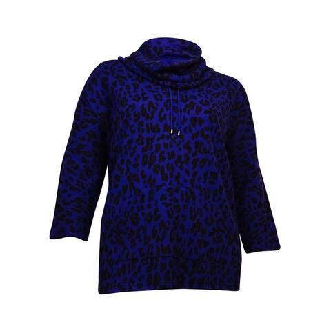 Style & Co. Women's Printed Cowl-Neck Thermal Hoodie (Prism Purple, 0X) - Prism Purple - 0X