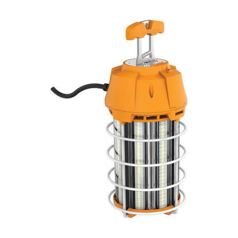 150 Watt LED Hi-Lumen Temporary High Bay Caged Lamp 5000K Integrated Cord and Plug and Hook 120 Volts - Orange