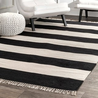 Link to Porch & Den Mickey Casual Stripped Fringe Area Rug Similar Items in Rugs