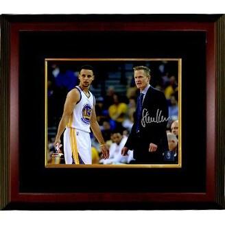 472c98085 Steve Kerr signed Golden State Warriors 8x10 Photo Custom Framed Coach  standing w Stephen Curry