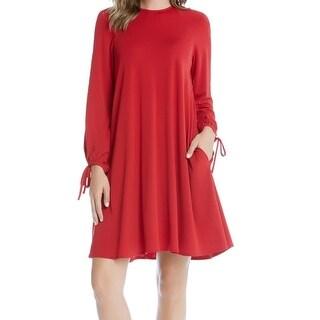 Karen Kane NEW Dark Red Womens Size XL Long-Sleeve Stretch Sheath