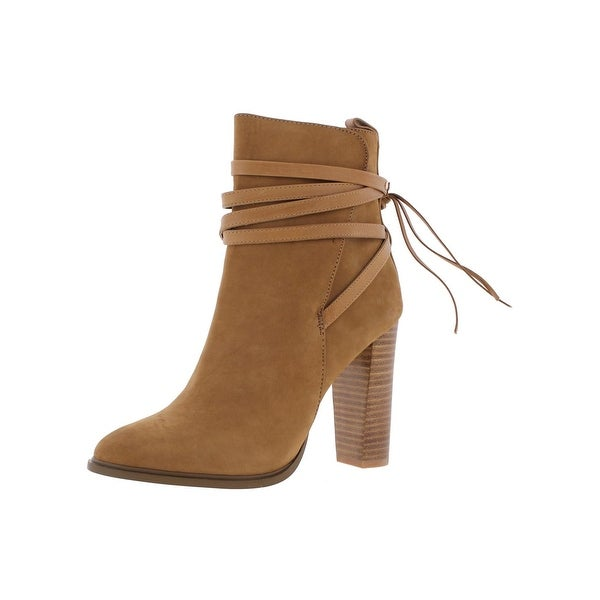 Steve Madden Womens Gaybel Ankle Boots Wraparound Straps Stacked Heel
