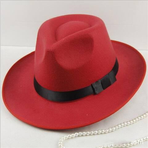 Sun Visor Men Women Hard Felt Wide Brim Fedora Panama Hat Autumn Vintage Cap