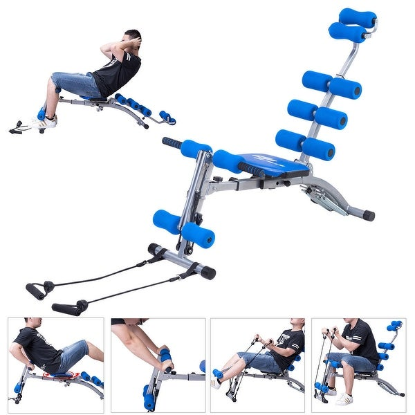 Costway 5 In 1 Multi-functional Twister AB Rocket Abdominal Trainer Core Trainer Bench - Blue