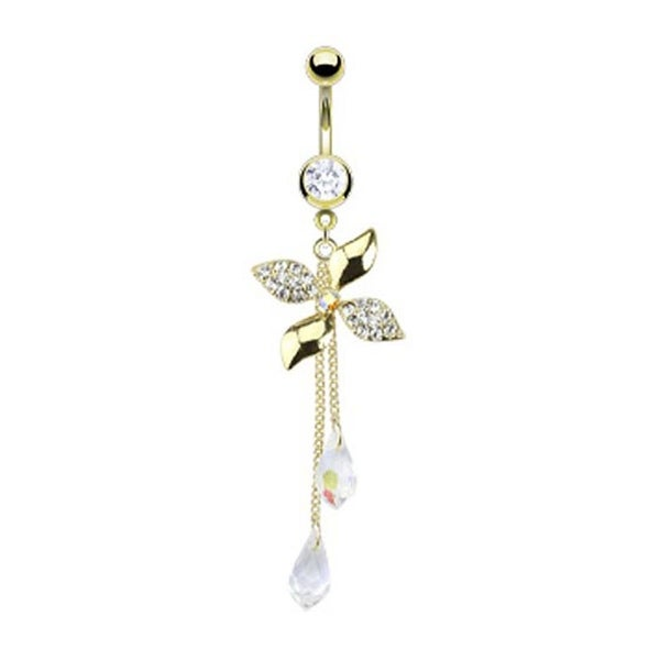 Gold Plated Stainless Steel Paved CZ Flower with Chandelier Crystalline Navel Belly Button Ring