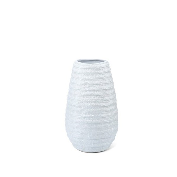 "18.5"" White Nola Corrugated Pattern Small Ceramic Vase - N/A"
