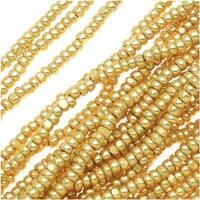 Czech Single Cut Charlotte Seed Beads 13/0 Metallic Gold Terra 1/2 Hank