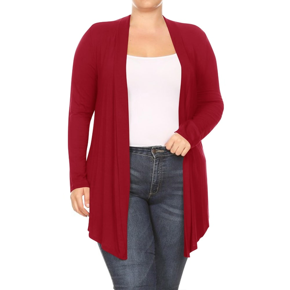 Womens Plus Size Solid Color Casual Draped Cardigan