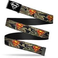 Superman Reverse Brushed Silver  Cam Superman Shield Camo Olive Webbing Web Belt