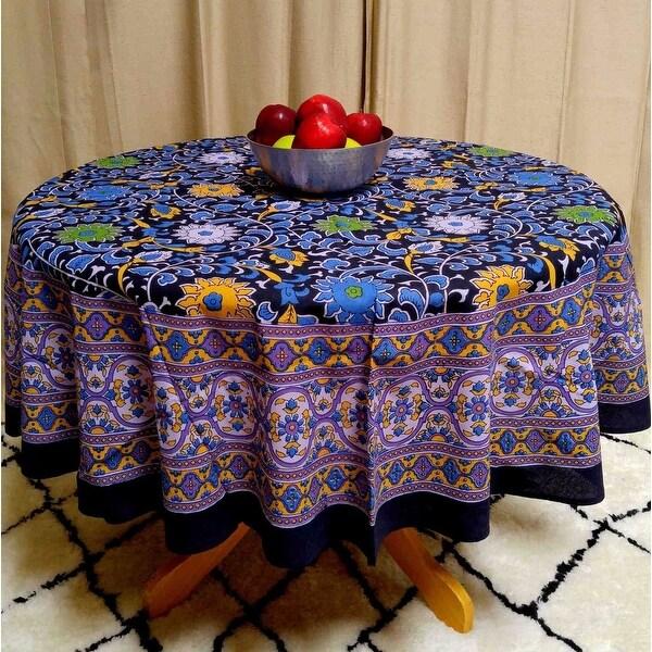 "Handmade Sunflower Print 100% Cotton Tablecloth Round 66"" Round Purple & Black"