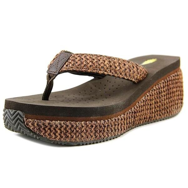 Volatile Island 2 Women Open Toe Canvas Brown Wedge Sandal