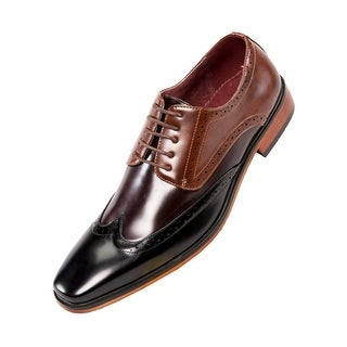 Amali Classic Smooth Multi Colored Wing Tip Oxford - Black