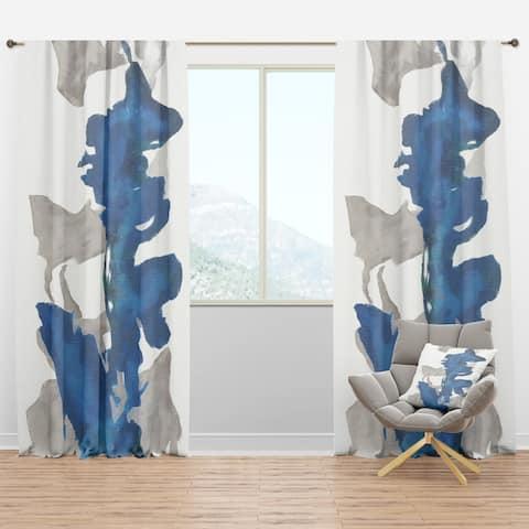 Designart 'Gouache Sapphire on Gray VI' Modern Blackout Curtain Panel