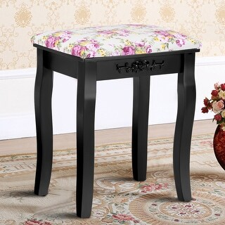 Costway Vanity Wood Dressing Stool Padded Chair Makeup Piano Seat Rose Cushion Black