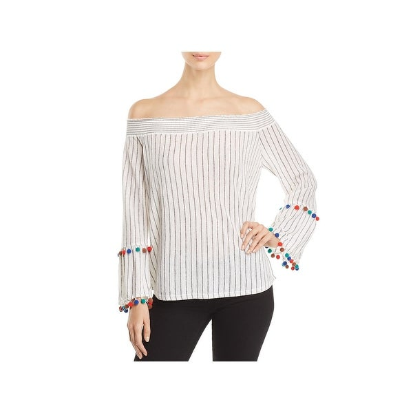 Nic + Zoe Womens Pullover Top Striped Off-The-Shoulder