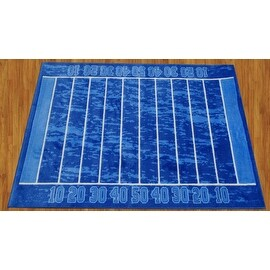 "Supreme Gridiron Children Rug Blue Base Color Kids Rug Children's Machine-washable Non-slip Area Rug (39""X58"" Inches)"