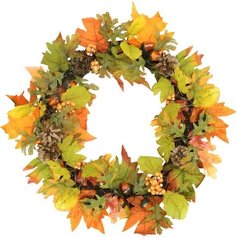Autumn Harvest Maple Leaf Artificial Thanksgiving Wreath - 20-Inch,Unlit