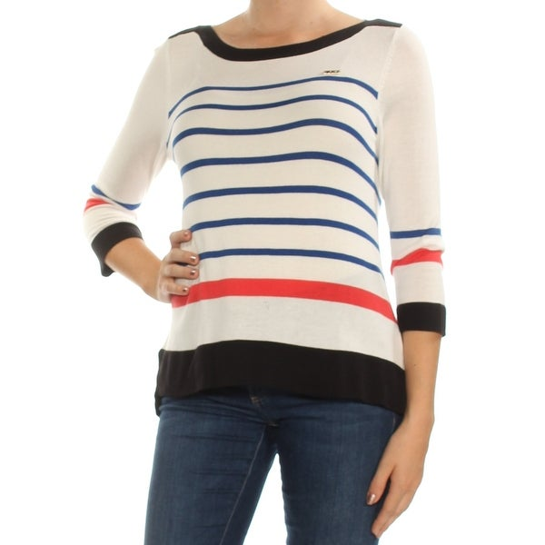 cb405915a48d73 Shop Womens White Striped 3/4 Sleeve Boat Neck Top Size M - Free Shipping  On Orders Over $45 - Overstock - 24085430