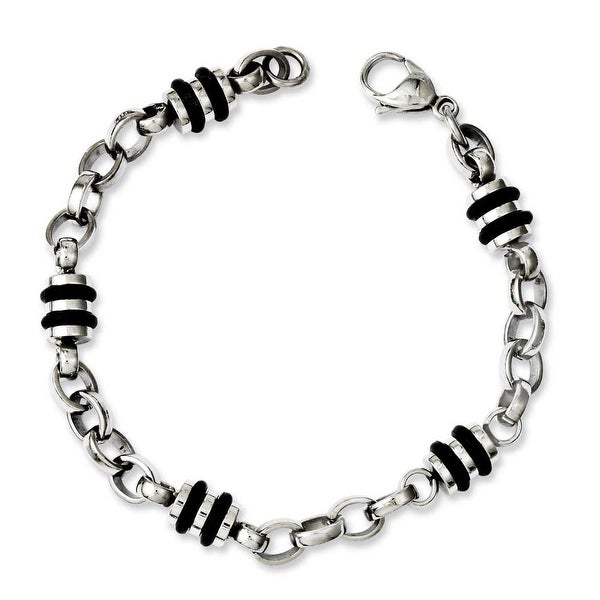 Chisel Stainless Steel and Rubber Accent Barrel Link Bracelet