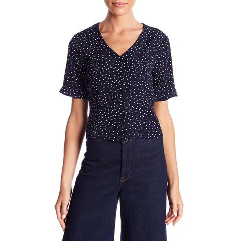 Elodie Blue Womens Size Large L Polka Dot Button Down Knit Top