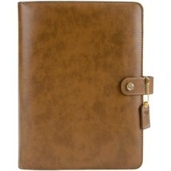 """Walnut - Color Crush A5 Faux Leather 6-Ring Planner Binder 7.5""""X10"""""""