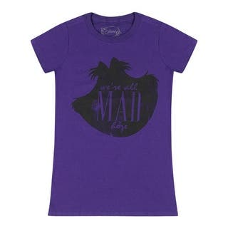 """Disney """"We Are All Mad Here"""" Cheshire Cat Face Silhouette Women's Purple T-shirt