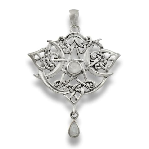 Sterling Silver Heart Pentacle Pendant - Moonstone - One Size