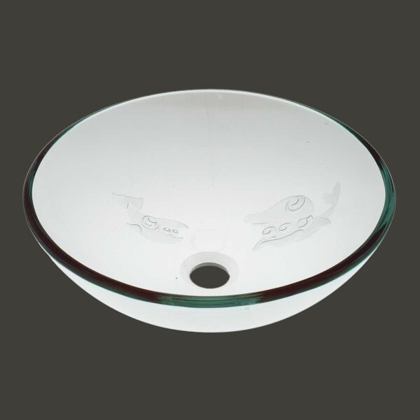 Tempered Glass Vessel Sink With Drain, Etched Fish Frosted Glass Bowl Sink    Free Shipping Today   Overstock.com   19428047
