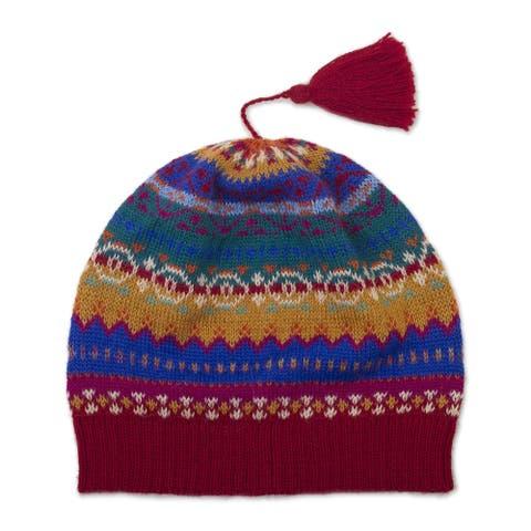 NOVICA hat Sierra Rainbow Wool knit