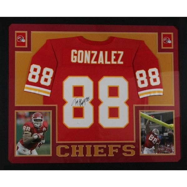 0877a1e3af3 Tony Gonzalez Autographed Kansas City Chiefs Signed Mitchell Ness Football Framed  Jersey JSA COA