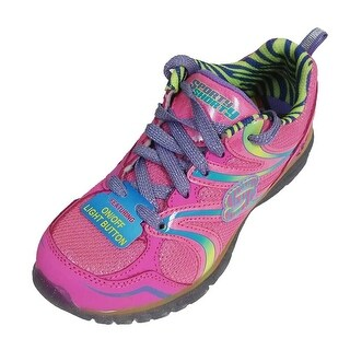 Skechers Girls Sporty Shorty S Lights On/Off Button Glitter Sneakers Pink 2 - 2 m us girls
