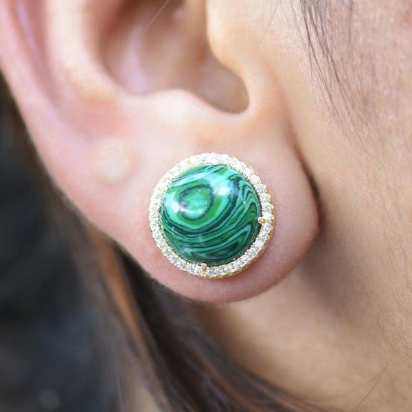 Womens Malachite Gemstone Earrings Round Designer Wear Simulated Diamonds Sterling Silver 925