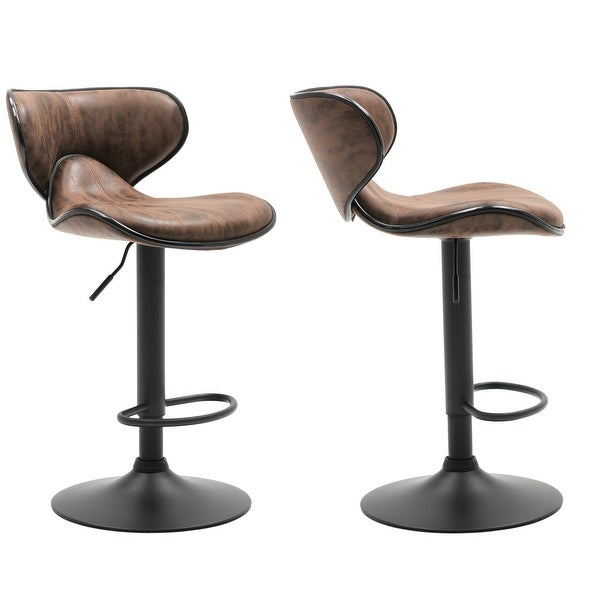 Adjustable Swivel Vintage Brown Bar Counter Stool Chair Set Of 2, Back - 24 to 32 inch adjustable - 24 to 32 inch adjustable. Opens flyout.