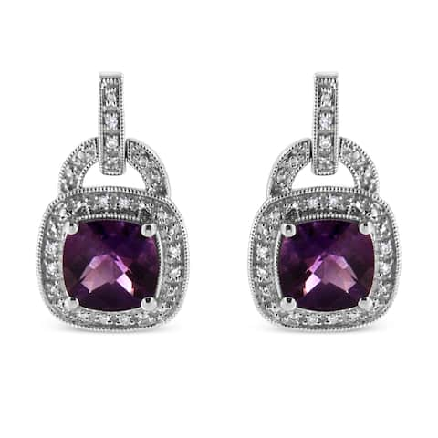 .925 Sterling Silver 8x8MM Natural Cushion Shaped Purple Amethyst and Diamond Accent Halo Dangle Earrings (I-J, I2-I3)