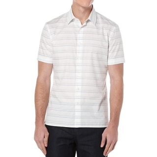 Perry Ellis Mens Button-Down Shirt Striped Short Sleeves