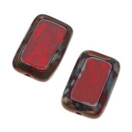 Czech Glass Table Cut Window Beads 8x12mm Rectangle Deep Red / Picasso (12)