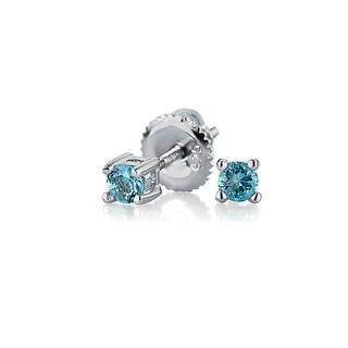 Bling Jewelry Light Blue CZ Screwback Stud earrings 925 Sterling Silver 3mm