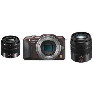 Panasonic Lumix DMC-GF6 Micro 4/3 Compact System Camera w/14-42mm II F/3.5-5.6 & 45-150mm F/4-5.6 Lenses (Brown) Bundle