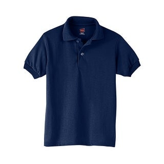 Hanes Kids' Cotton-Blend EcoSmart® Jersey Polo - Size - S - Color - Navy