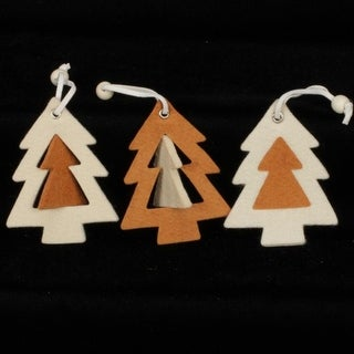 """Club Pack of 36 Inside And Out Tree Ivory And Brown """"Felt Ornaments"""""""