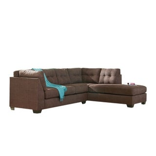 Offex Benchcraft Maier Sectional with Right Side Facing Chaise in Walnut Microfiber