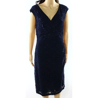 Connected Apparel NEW Blue Women's Size 8 Sheath Sequin Lace Dress