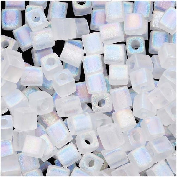 Miyuki 4mm Glass Cube Beads 'Transparent Frosted Clear AB' 131FR 10 Grams. Opens flyout.