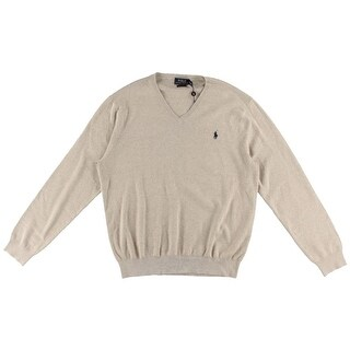 Polo Ralph Lauren Mens Heathered Ribbed Trim Pullover Sweater - XL