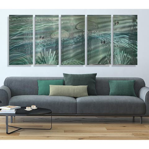 Statements2000 Tropical Metal Wall Art Beach Ocean Jellyfish Painting Decor by Jon Allen - Aquanatic