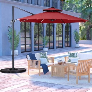 Link to Ainfox 10ft  Offset Hanging Patio  Market Cantilever Solar Umbrella Similar Items in Patio Umbrellas & Shades