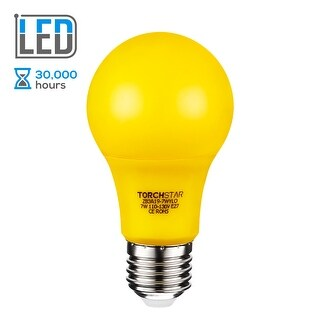 TORCHSTAR 7W Yellow LED A19 Colored Light Bulb, E26/E27 Base, for Porch, Patio, Backyard, Entry Way Lights, 30,000hrs
